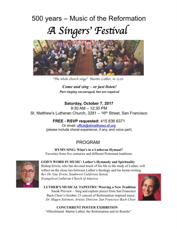 Singers' Festival - 500 Years - Music of Reformation @ St. Matthew's Lutheran Church | San Francisco | California | United States